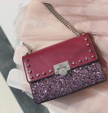 Lady's paillette chain rivet bag Purple