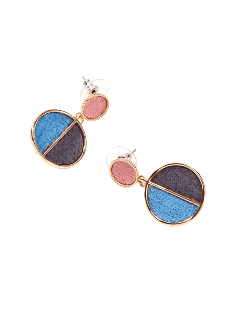 Geometric Round Stud Earrings, Women
