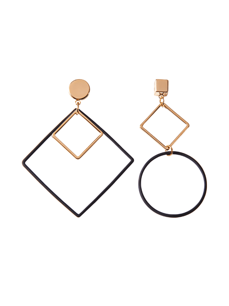 Geometric Mismatched Drop Earrings, Women