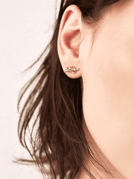 925 Silver Stud, Concentric Knot  Earrings , Women
