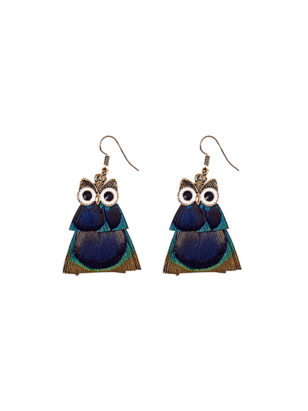 925 Silver Stud,Owl Drop Earrings, Women