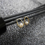 S925 sterling silver temperament hollow irregular geometric ring bead earrings female