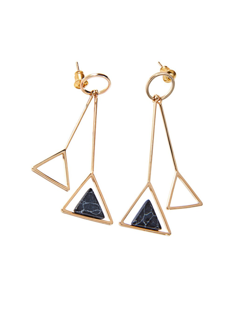 Retro Geometric Drop Earrings, Women
