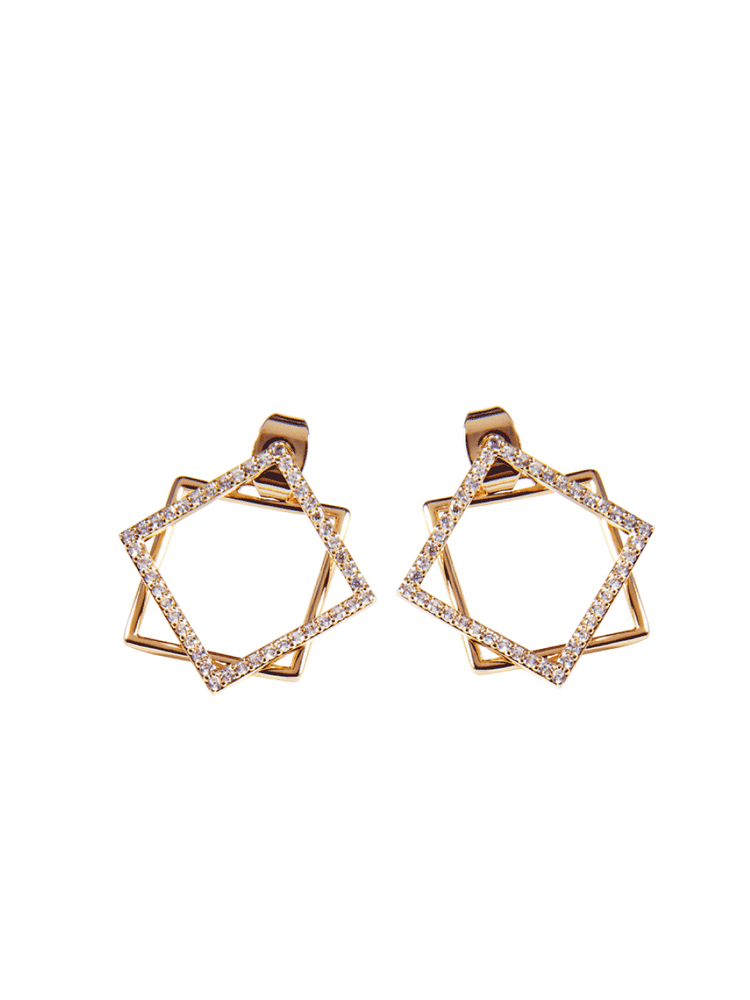 Women,Double layer Geometric Shapes Earring