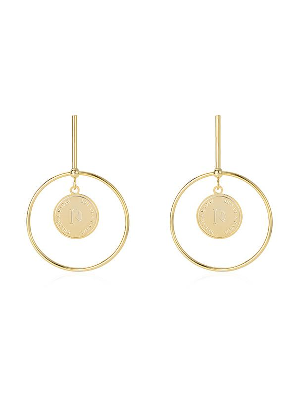 925 Silver Stud, Geometric Round Drop Stud Earrings, Women