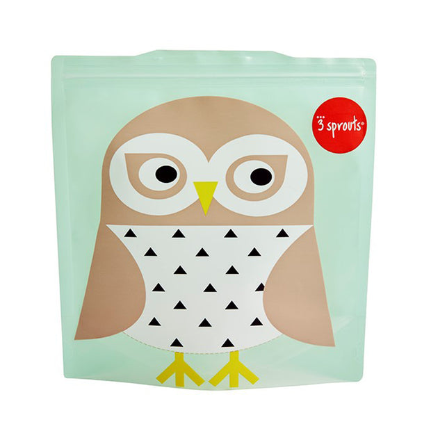 3 SPROUTS REUSABLE SANDWICH BAG (2 PACK) - OWL