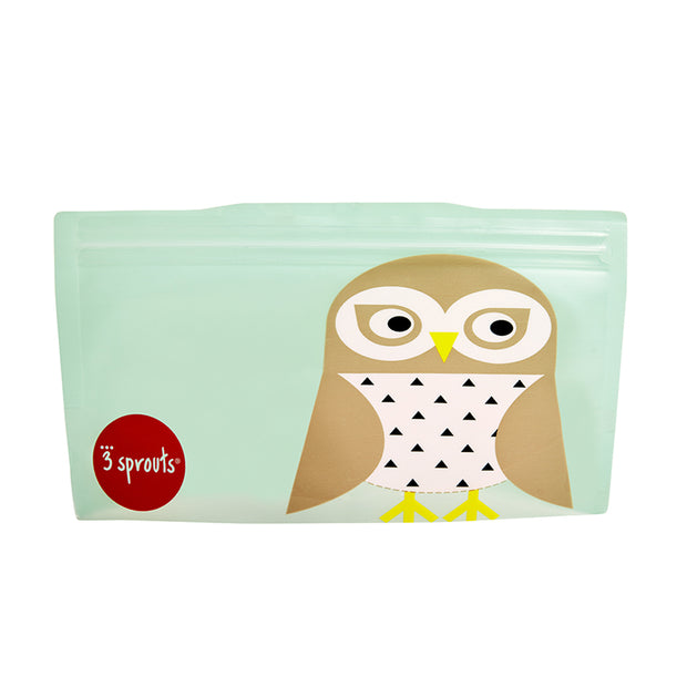 3 SPROUTS REUSABLE SNACK BAG (2 PACK) - OWL