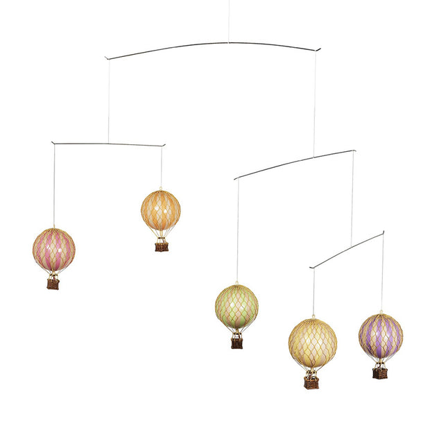 Authentic Models Ceiling Mobile - Hot Air Balloons (Pastel Colours)