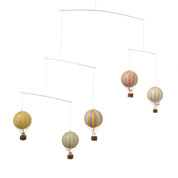Authentic Models Ceiling Mobile - Hot Air Balloons (Pastel Rainbow)