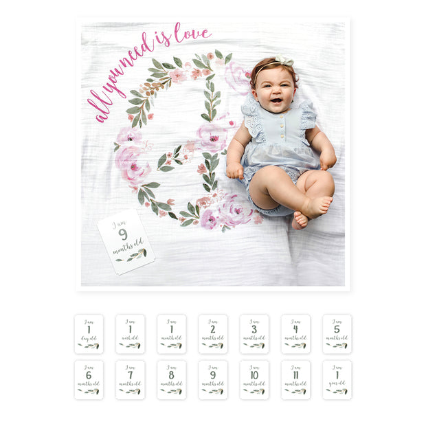 Baby's First Year Swaddle & Milestone Cards - All You Need Is Love