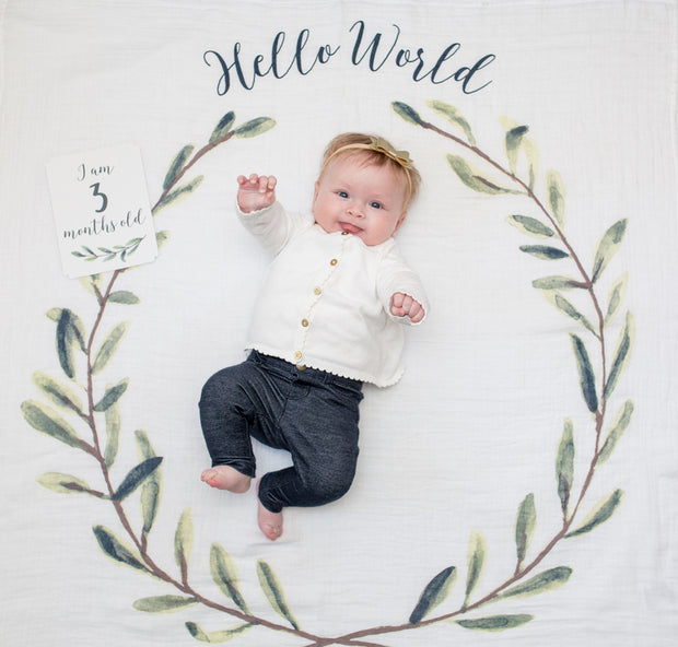 Baby's First Year Swaddle & Milestone Cards - Hello World