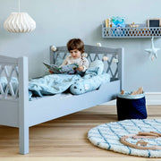 CAM CAM COPENHAGEN HARLEQUIN JUNIOR TO SINGLE BED - GREY