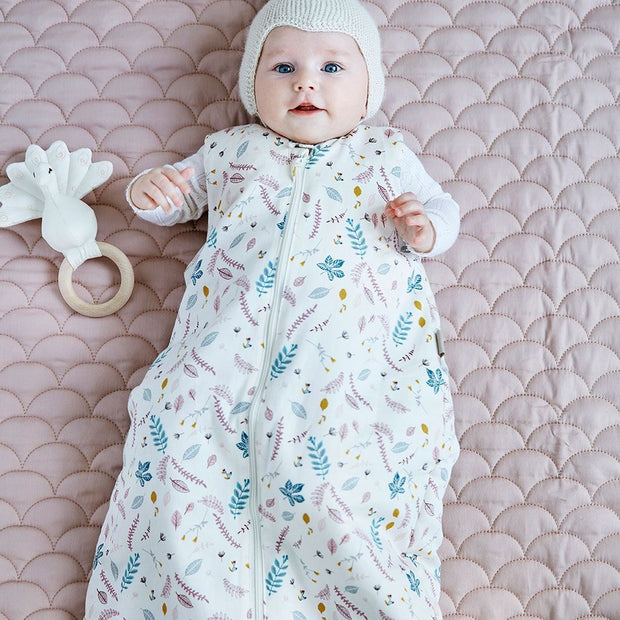 CAM CAM COPENHAGEN ORGANIC BABY SLEEPING BAG 2.1 TOG - PRESSED LEAVES ROSE