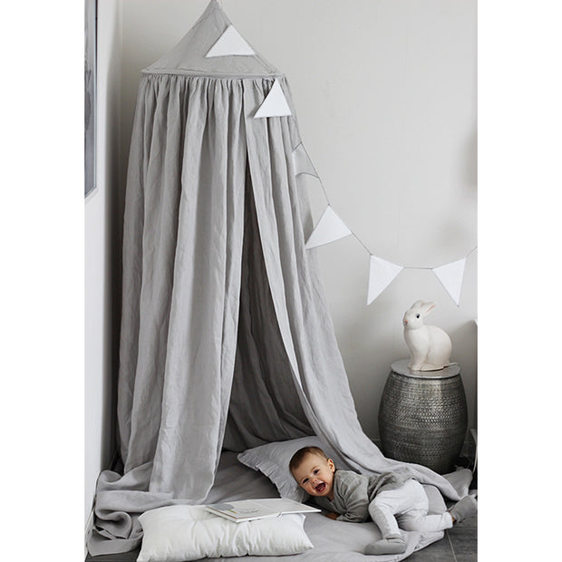 COTTON & SWEETS PURE NATURE LINEN CANOPY - LIGHT GREY