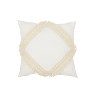 COTTON & SWEETS SQUARE LACE BOHO CUSHION - VANILLA