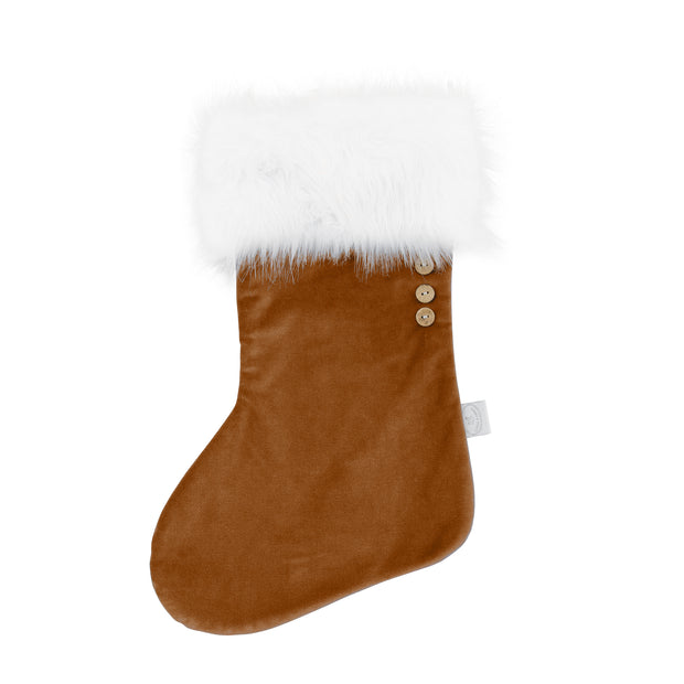 COTTON & SWEETS VELVET CHRISTMAS STOCKING - CARAMEL | WHITE