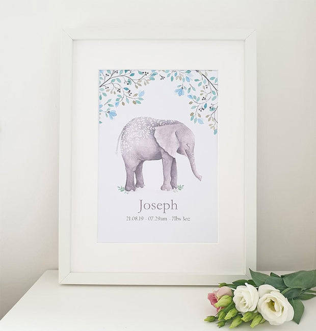 CHERISH ME BABY ELEPHANT PERSONALISED PRINT - BOY
