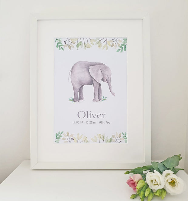 CHERISH ME BABY ELEPHANT PERSONALISED PRINT - BOY / GIRL