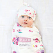 Hello World Baby Swaddle & Hat Set - Posies