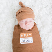 Hello World Baby Swaddle & Hat Set - Tan