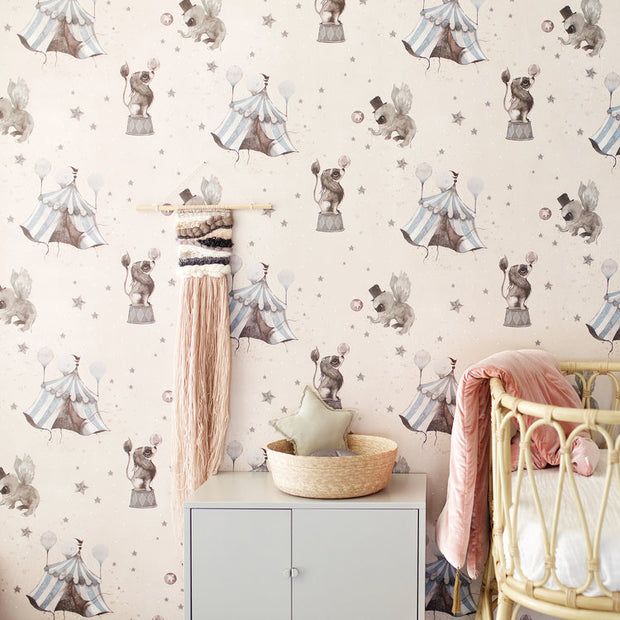 Mrs Mighetto Wallpaper - Powder Pink Circus