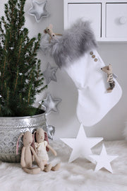 COTTON & SWEETS VELVET CHRISTMAS STOCKING - WHITE | GREY