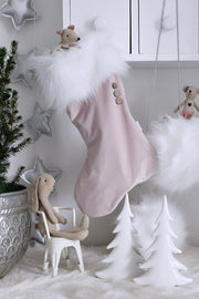COTTON & SWEETS VELVET CHRISTMAS STOCKING - POWDER PINK | WHITE