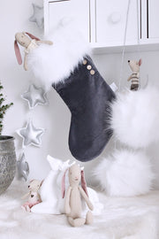 COTTON & SWEETS VELVET CHRISTMAS STOCKING - GRAPHITE | WHITE