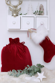 COTTON & SWEETS LUXURIOUS VELVET CHRISTMAS SACK - RED