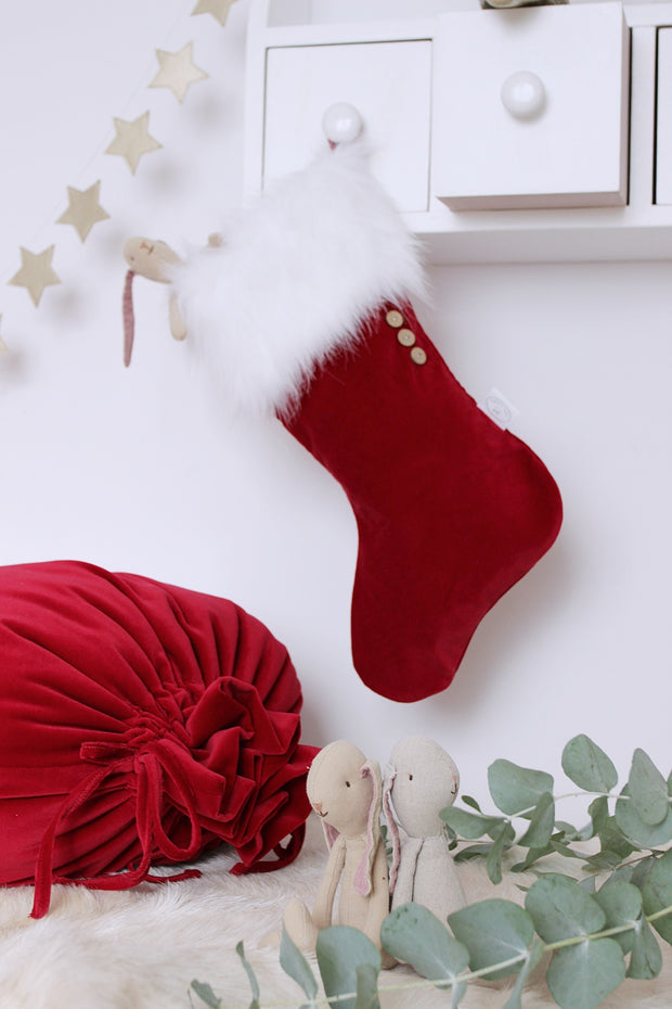 COTTON & SWEETS VELVET CHRISTMAS STOCKING - RED | WHITE