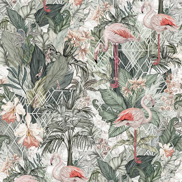 Tropical wallpaper with leafy design and pink flamingos through out