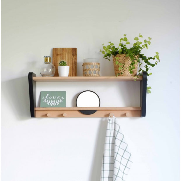 JUNGLE BY JUNGLE CHILD WALL SHELF - BLACK / BEECH