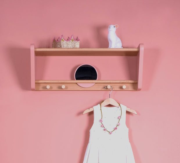 JUNGLE BY JUNGLE CHILD WALL SHELF - PINK / BEECH