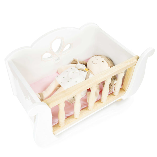LE TOY VAN WOODEN SLEIGH DOLL COT