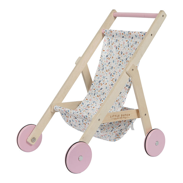 LITTLE DUTCH WOODEN DOLL STROLLER - SPRING FLOWERS