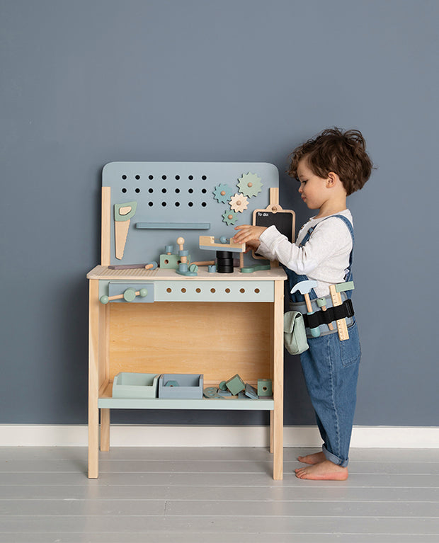Little Dutch Wooden Toy Workbench with Tool Belt