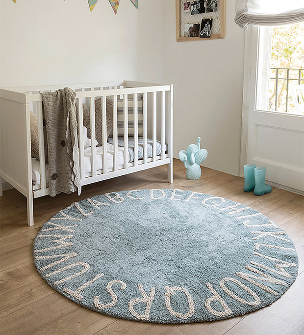 LORENA CANALS WASHABLE ROUND RUG - ABC BLUE | NATURAL