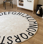 LORENA CANALS WASHABLE ROUND RUG - ABC NATURAL | BLACK