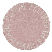 LORENA CANALS WASHABLE ROUND RUG - ABC PINK | NATURAL