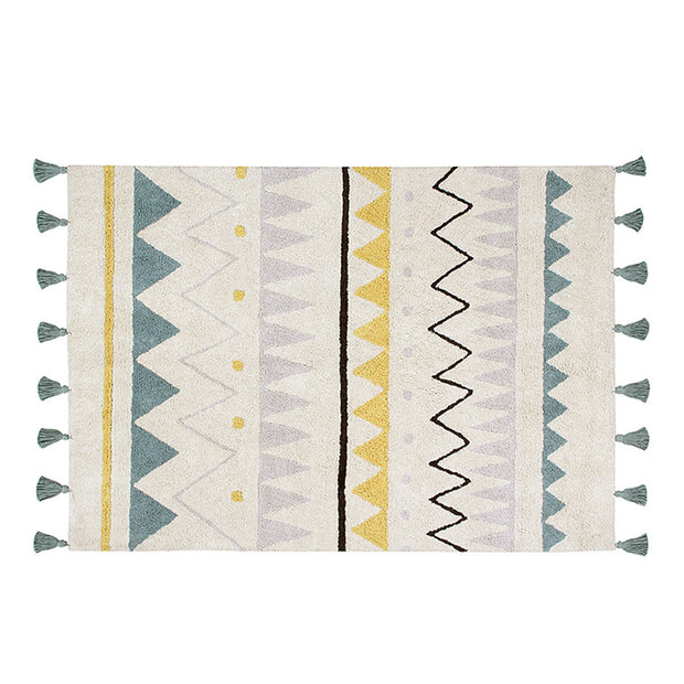 LORENA CANALS AZTECA WASHABLE RUG - NATURAL | BLUE