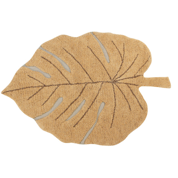 LORENA CANALS MONSTERA LEAF WASHABLE RUG - HONEY