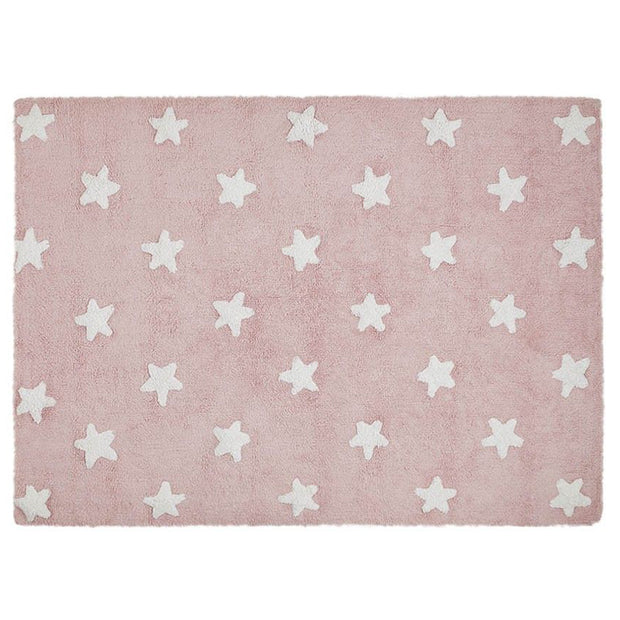 LORENA CANALS STARS WASHABLE RUG - PINK  | WHITE