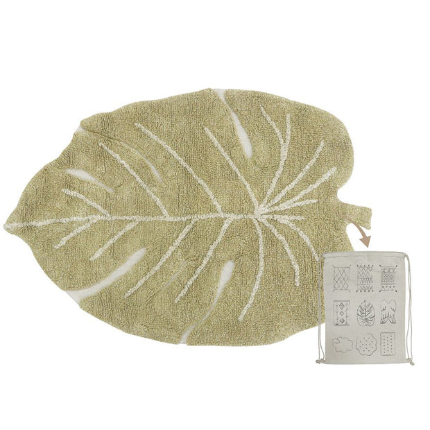 Lorena Canals Machine Washable Rug - Mini Monstera Leaf Olive