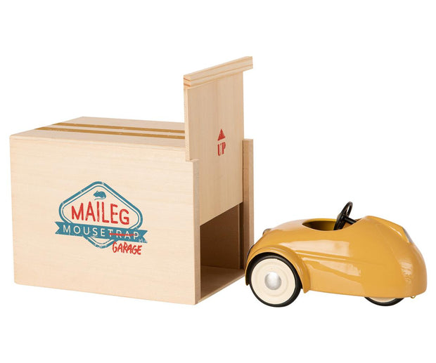 Maileg Mouse in a Race Car + Garage - Yellow