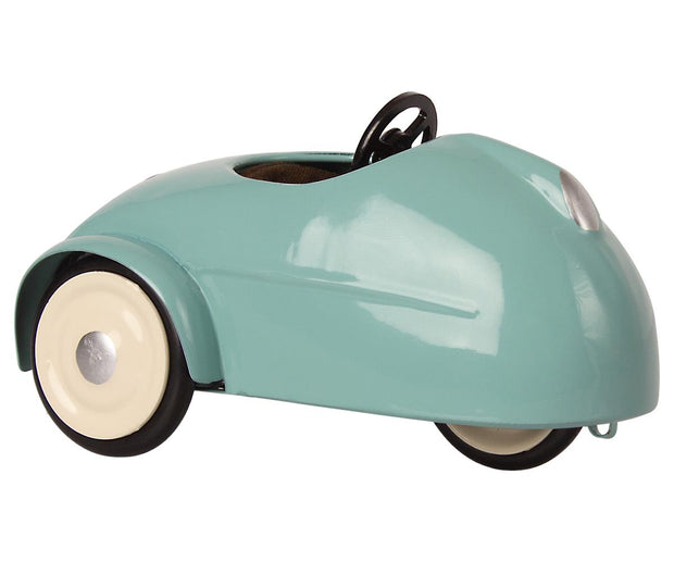 Maileg Mouse in a Race Car + Garage - Blue