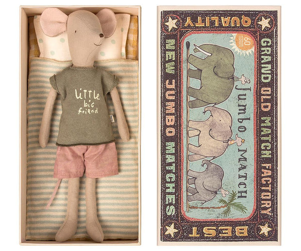 Maileg (Medium) Mouse in a Box - Boy & Sleepover Set