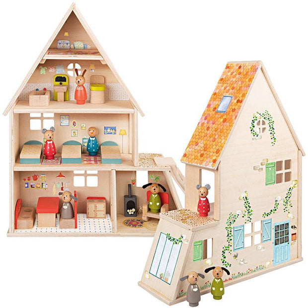 Moulin Roty Le Grande Famille Doll House With Furniture