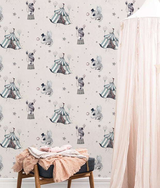 MRS MIGHETTO CIRCUS WALLPAPER - POWDER PINK