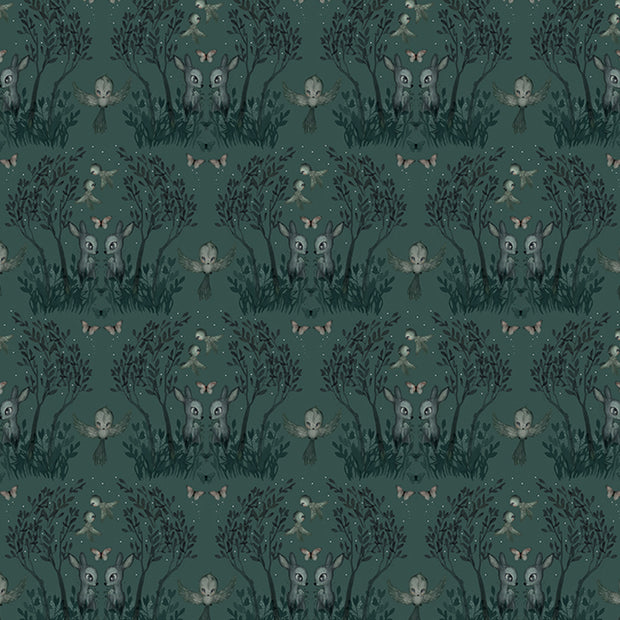 MRS MIGHETTO GARDEN PINE GREEN WALLPAPER