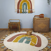 RAINBOW ROUND COTTON RUG
